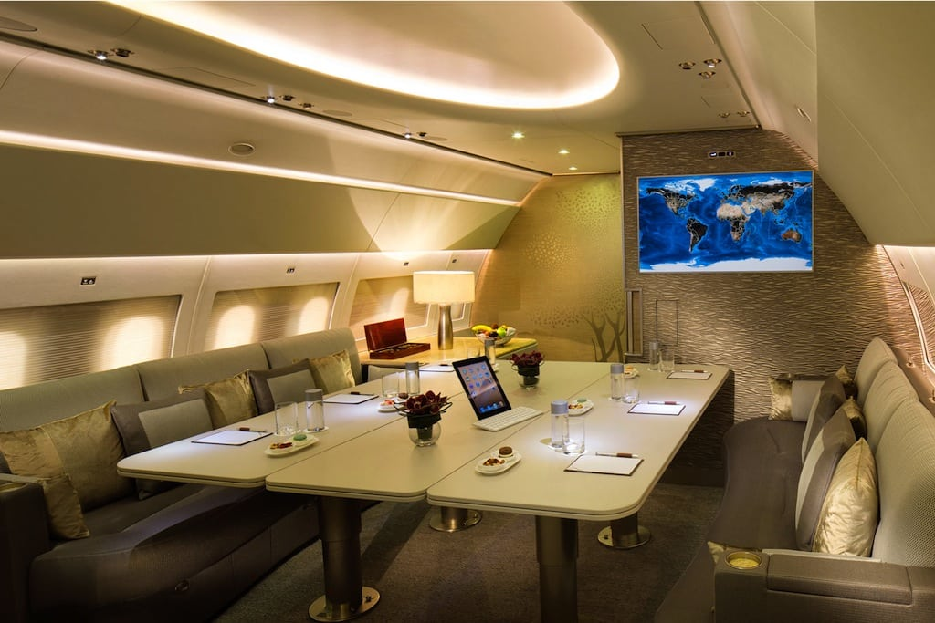 Emirate Executive is the carrier's new private jet service. The common area can be configured for leisure or business travel.