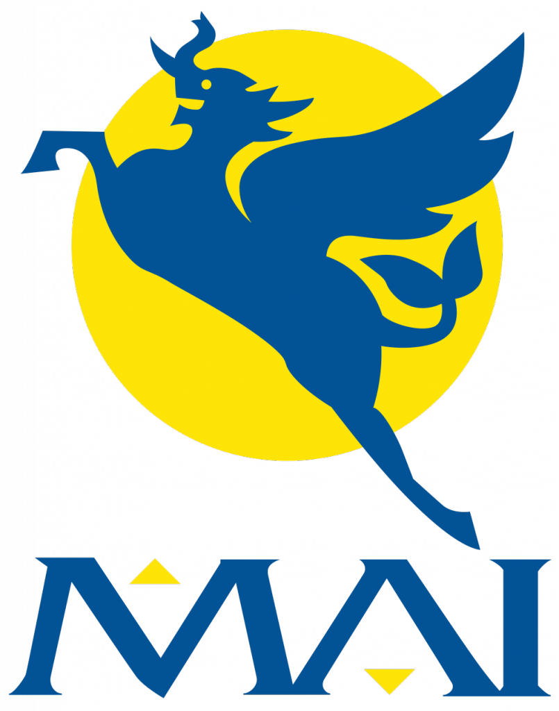 Myanmar Airways International logo: The international flag carrier of Myanmar, MAI was founded in 1946 as Union of Burma Airways. The new logo of a stylized flying horse-elephant came in 2001, as part of a rebrand.