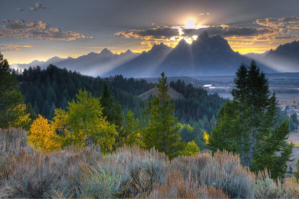 Sunset at Grand Teton National Park.