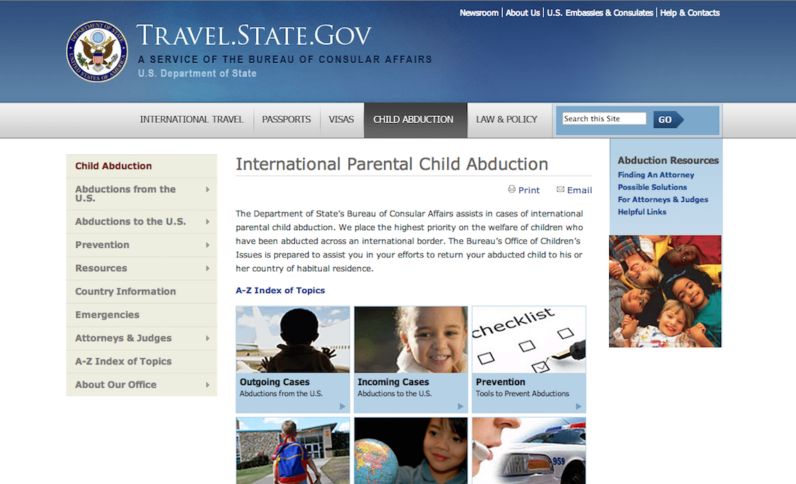 "The old ""Child Abductions"" homepage on travel.state.gov."